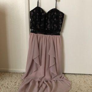 City Triangles Black Mesh High-low Prom Dress